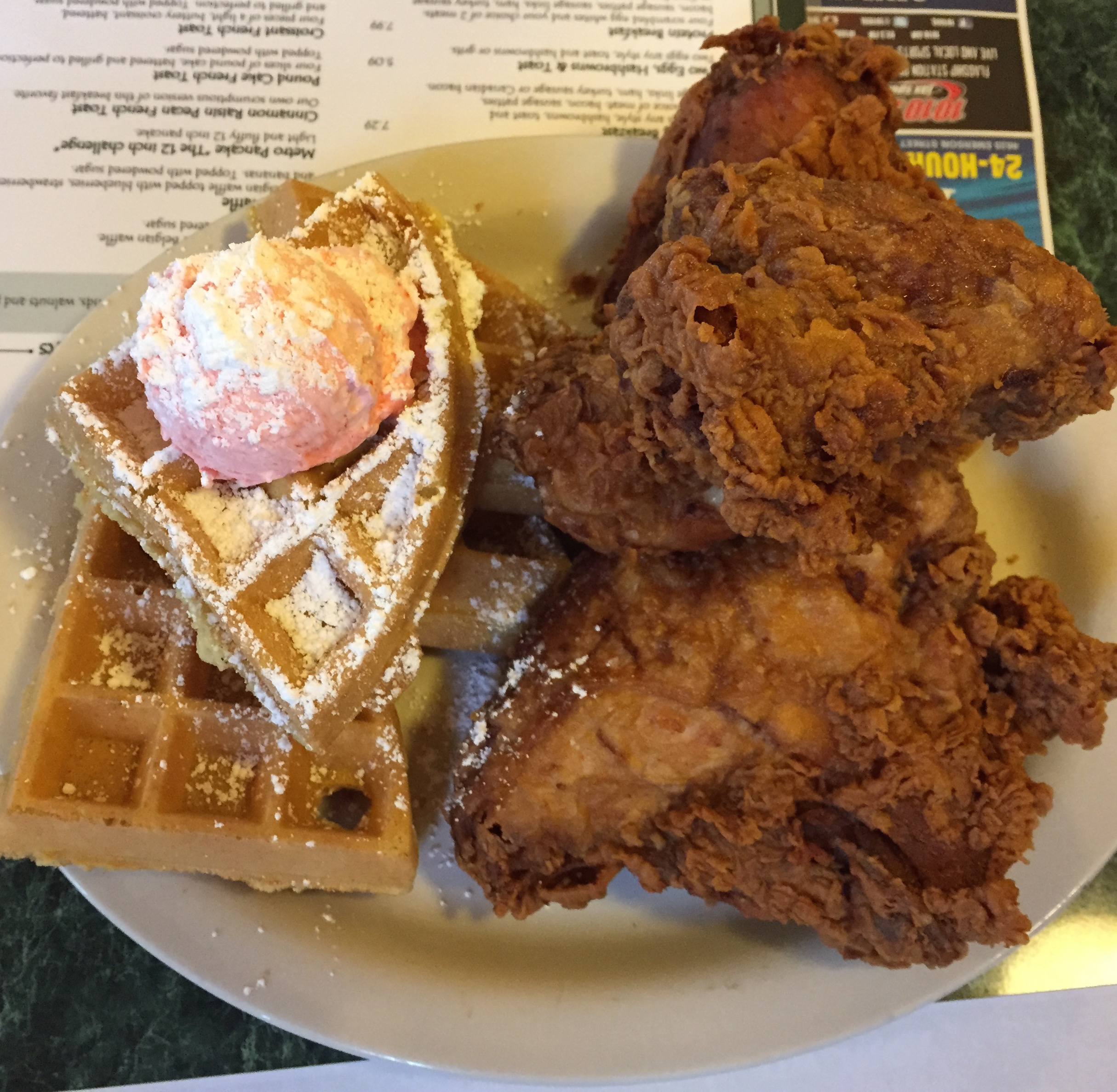 Chicken and waffles at the Metro Diner in Jacksonville