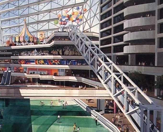 To enter the World of Sid and Marty Krofft, visitors traveled up eight stories on the world's longest escalator. (Photo courtesy of Entertainment Designer)