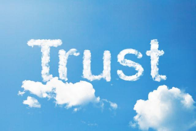 """the word """"trust"""" in the sky"""